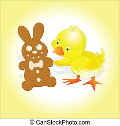 Yellow Chick with Easter Bunny