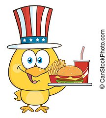 Yellow Chick With USA Patriotic Hat