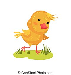 Yellow chicken in the meadow. Vector illustration on white background.