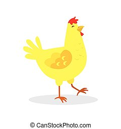 Yellow chicken isolated on a white background. illustration.