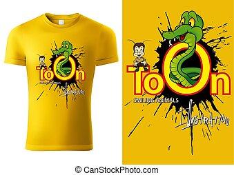 T-shirt Design with Cartoon Snake