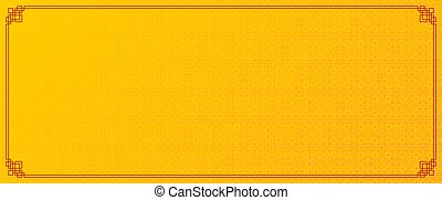 yellow chinese abstract pattern banner with red border