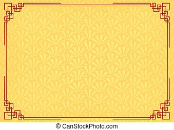 yellow chinese little fan abstract background with red border chinese new year