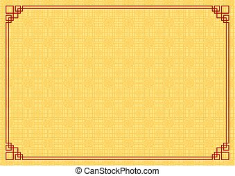 yellow chinese square and circle abstract background with red border chinese new year