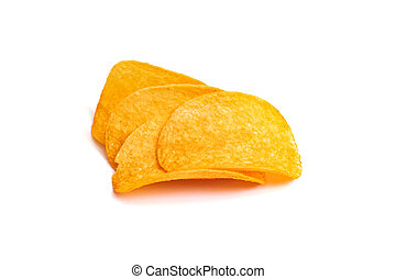 Yellow chips isolated on a white background