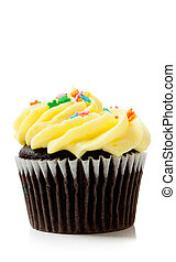 Yellow chocolate cupcakes on white