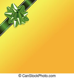 Yellow Christmas Background with Green Bow and Ribbon