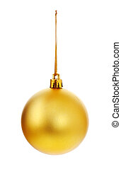 Yellow Christmas Ball - yellow christmas ball isolated on...