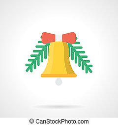 Yellow Christmas bell flat color vector icon