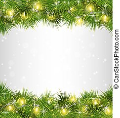 Yellow Christmas lights on pine branches on grayscale...