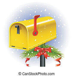 Christmas Mailbox - Yellow Christmas Mailbox over white. EPS...
