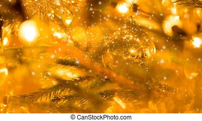 yellow christmas seamless loop background with snowflakes