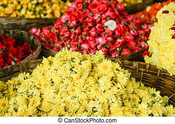 Yellow Chrysanthemum Flowers in a Basket