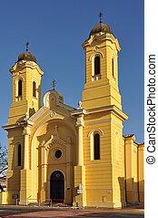 church in Kosice - yellow church in Kosice, Slovakia (slovak...