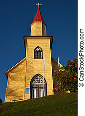 Yellow Church in the Southern Chile