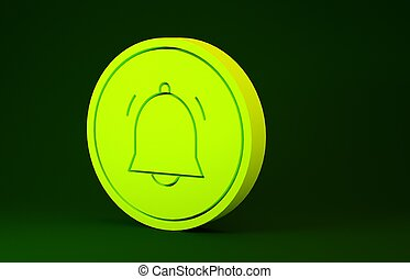 Yellow Circle button and chat notification icon isolated on green background. New message, dialog, chat, social network notification. Minimalism concept. 3d illustration 3D render