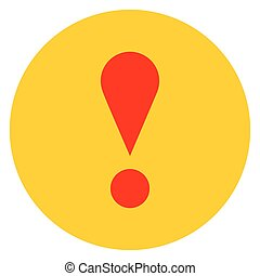 Yellow circle exclamation mark icon warning sign