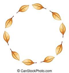 Yellow circle, frame, cartoon leaf.