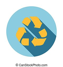 Yellow circular arrows icon, flat style