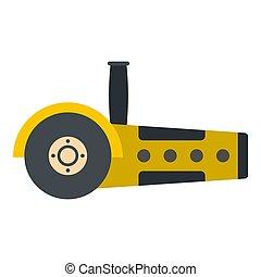 Yellow circular saw icon isolated