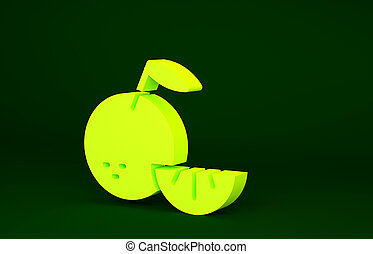 Yellow Citrus fruit icon isolated on green background. Orange in a cut. Healthy lifestyle. Minimalism concept. 3d illustration 3D render