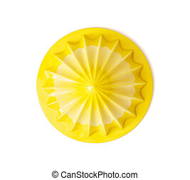 Yellow citrus juicer on the white background