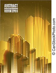 Yellow city skyline at night. Graphical urban abstract cityscape background