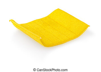 Yellow cleaning cloth isolated on white