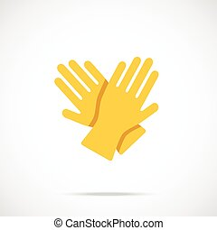 Yellow cleaning gloves flat icon