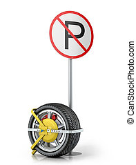 Yellow clip wheels with road sign on a white background.