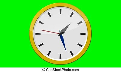 Yellow Clock - 12 Hours (green background) - Speed