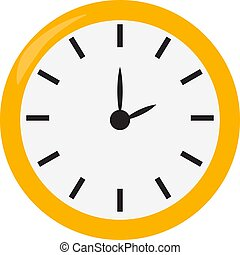 Yellow clock, illustration, vector on white background.