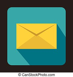 Yellow closed envelope icon, flat style