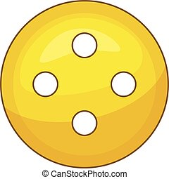 Yellow cloth button icon, cartoon style