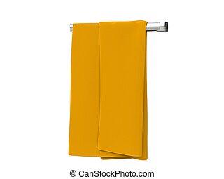 Yellow cloth on a cloth rack