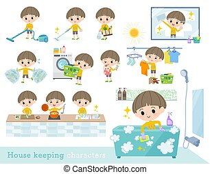 A set of boy related to housekeeping such as cleaning and laundry. There are various actions such as cooking and child rearing. It's vector art so it's easy to edit.