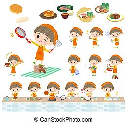 Yellow clothing boy_cooking - A set of boy about...