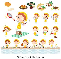 yellow clothing girl_cooking - A set of girl about...