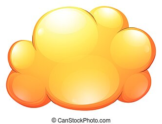 Yellow cloud on white background