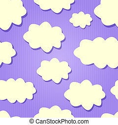 Yellow Clouds in Purple Sky.