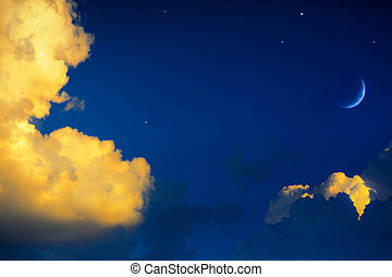 yellow clouds on blue sky background