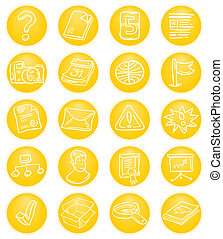 Yellow CMS icons - Content Management System Icon set in...