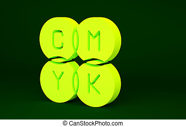 Yellow CMYK color mixing icon isolated on green background. Minimalism concept. 3d illustration 3D render