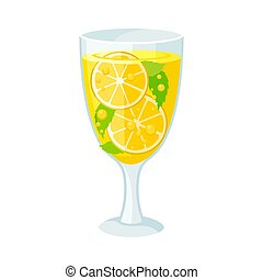 Yellow cocktail. Vector illustration on a white background.