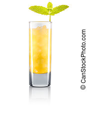 Yellow cocktail with mint isolated on white