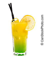 yellow cocktail with orange and ice