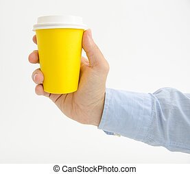 Yellow coffe cup to go