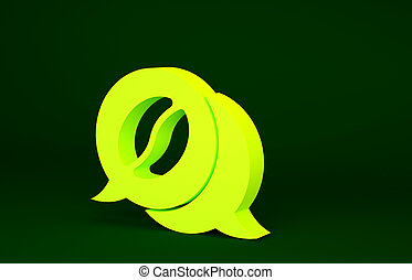 Yellow Coffee and conversation icon isolated on green background. Coffee talk. Speech bubbles chat. Minimalism concept. 3d illustration 3D render