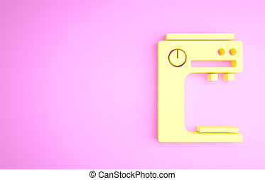 Yellow Coffee machine icon isolated on pink background. Minimalism concept. 3d illustration 3D render