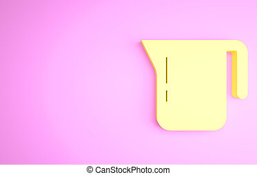 Yellow Coffee pot icon isolated on pink background. Minimalism concept. 3d illustration 3D render